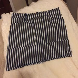 Navy and white striped skirt with pockets!